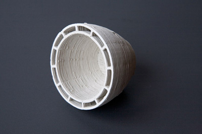 ceramic piece printed with Unfold Fab's claystruder