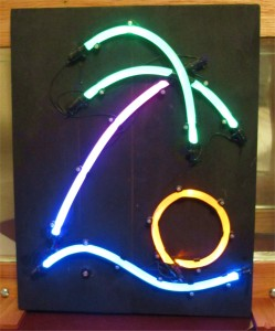 A very early experiment of a neon sign replacement.  Tygon SE-200 tubing, mineral oil and rutile TiO2 scattering agents. Low power LED light sources
